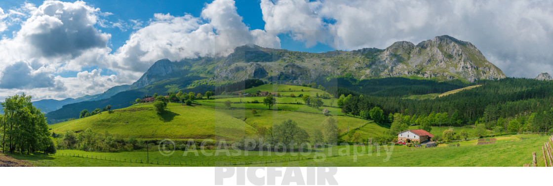 """""""Panoramic valley in Axpe"""" stock image"""
