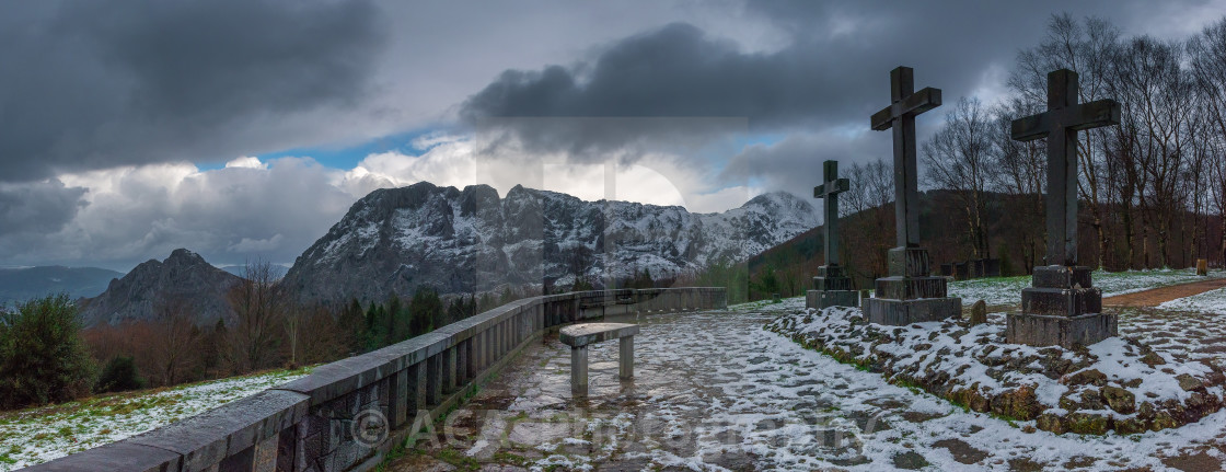 """""""A cold day in viacrucis of Urkiola Natural Park"""" stock image"""