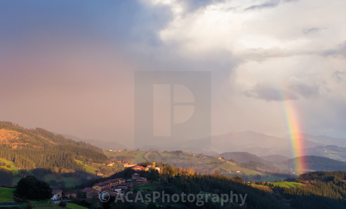 """""""Some colour over the town"""" stock image"""