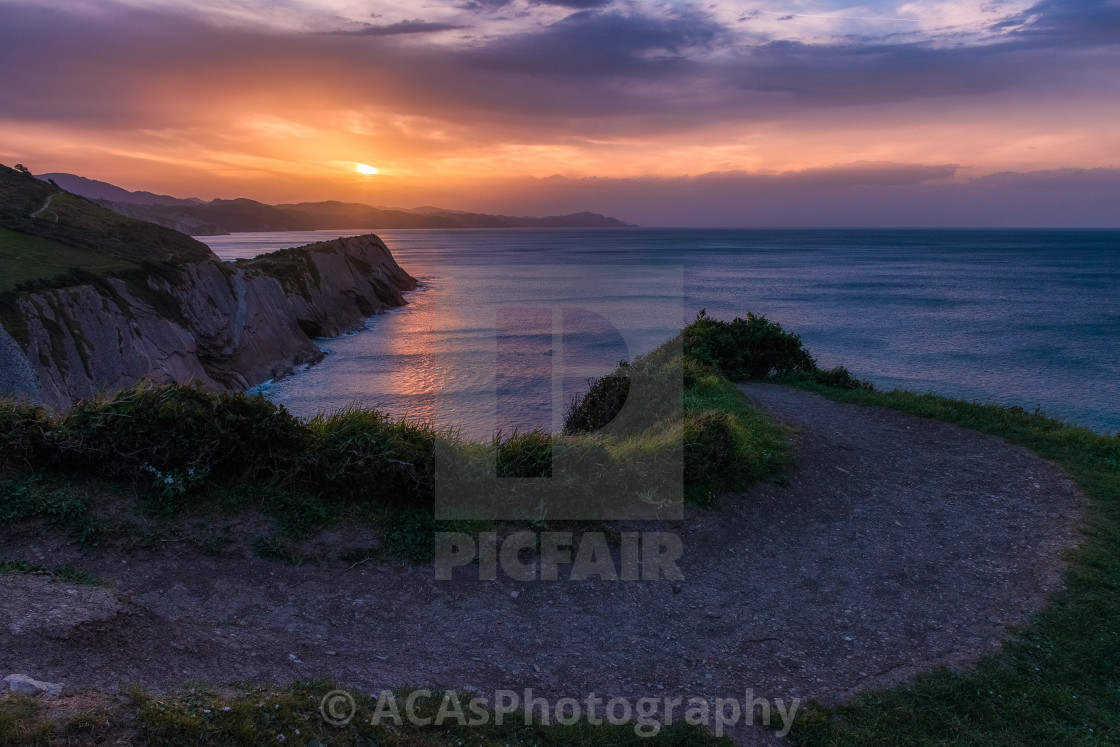 """""""A Sunset in the coast of Gipuzkoa, Basque Country"""" stock image"""