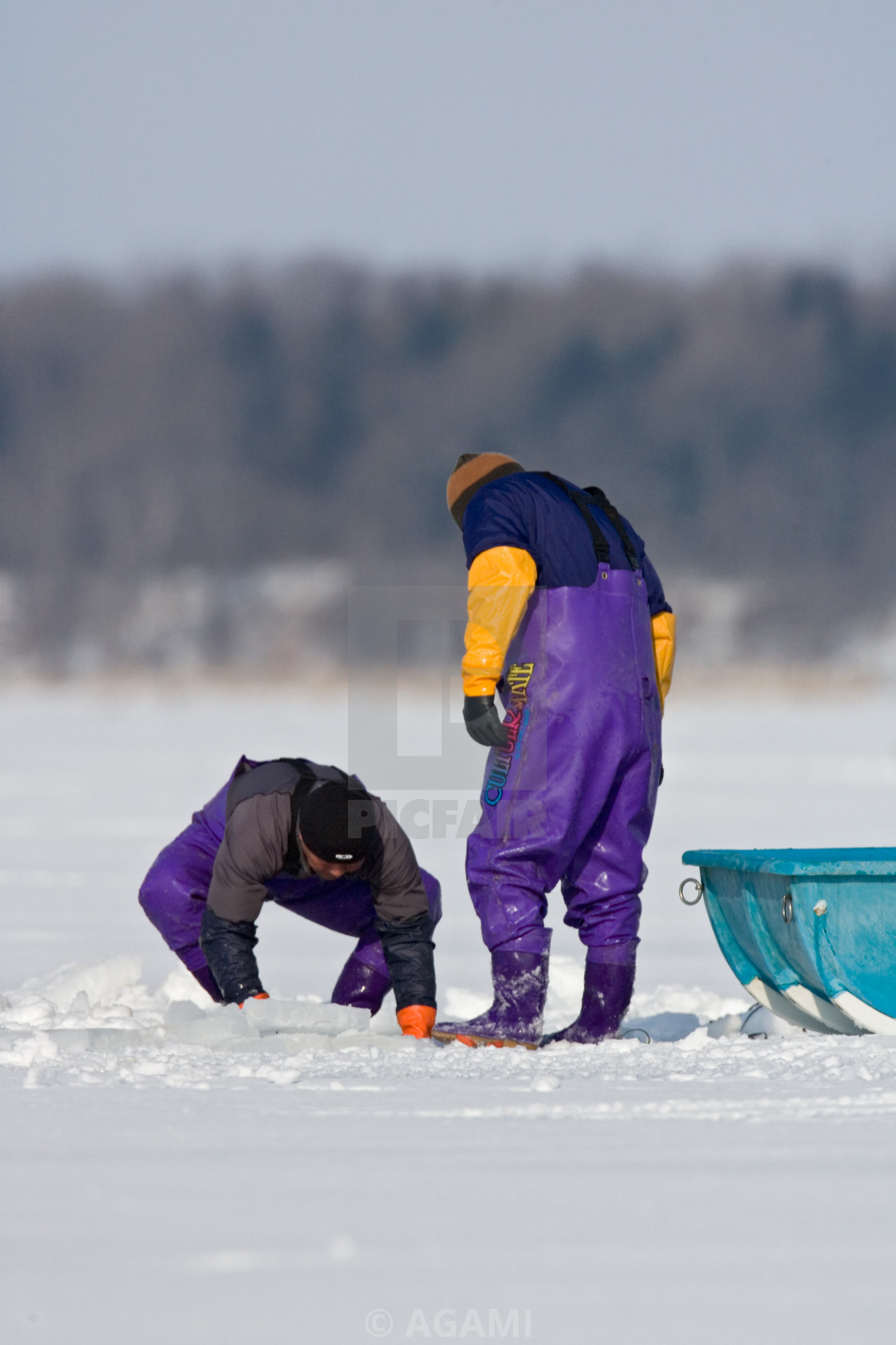 """IJsvissers, Ice fishing"" stock image"