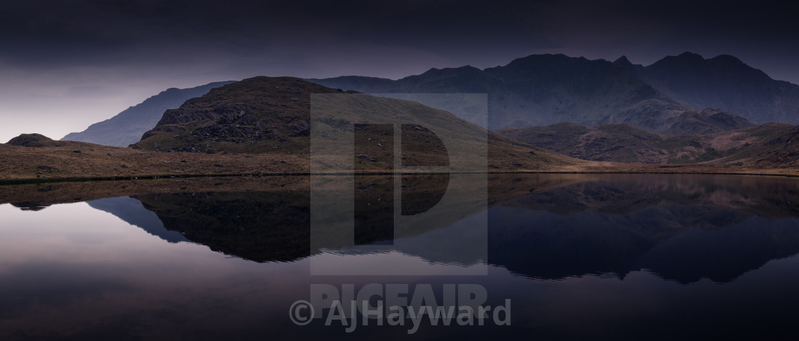 """Blue hour LLyn Teyrn"" stock image"