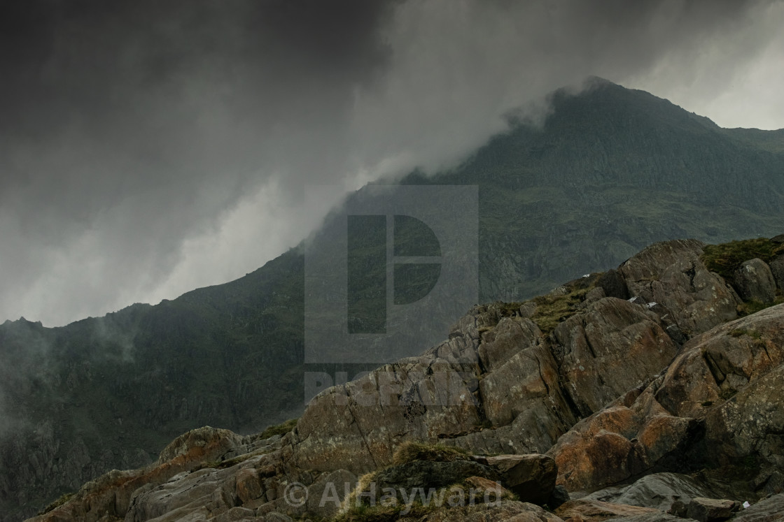 """When the weather rolled in- Mount Snowdon"" stock image"