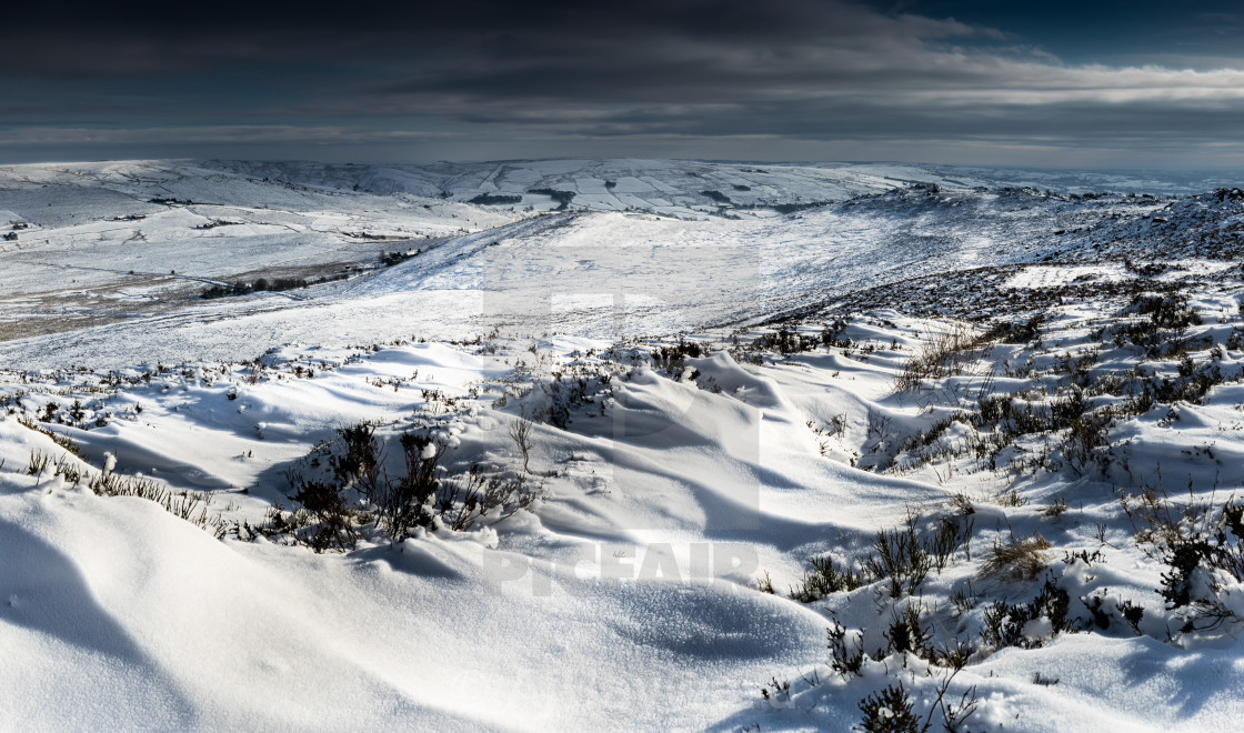 """""""Ripples in the snow on the Roaches"""" stock image"""