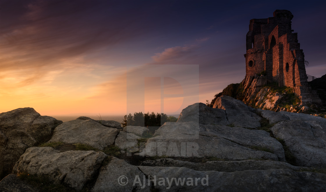 """Sunset, Mow Cop Castle, near Stoke-on-Trent"" stock image"