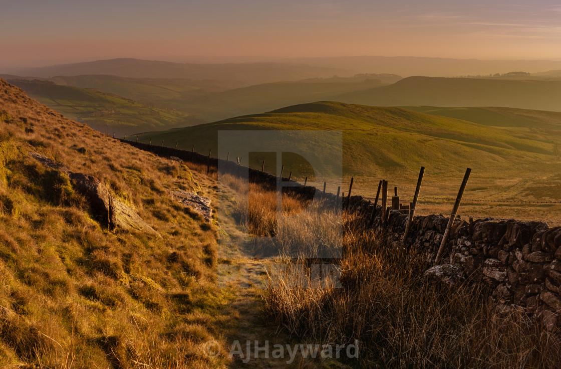 """Sunset on Shuttingsloe Hill, UK"" stock image"