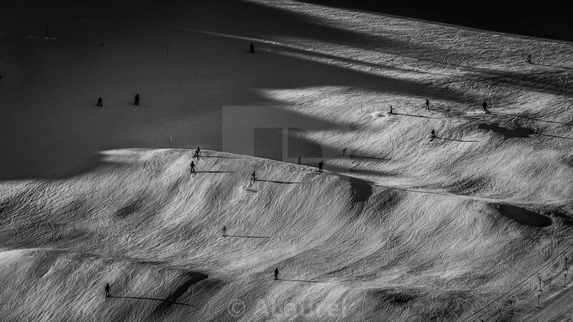 """Skiing Black & White"" stock image"