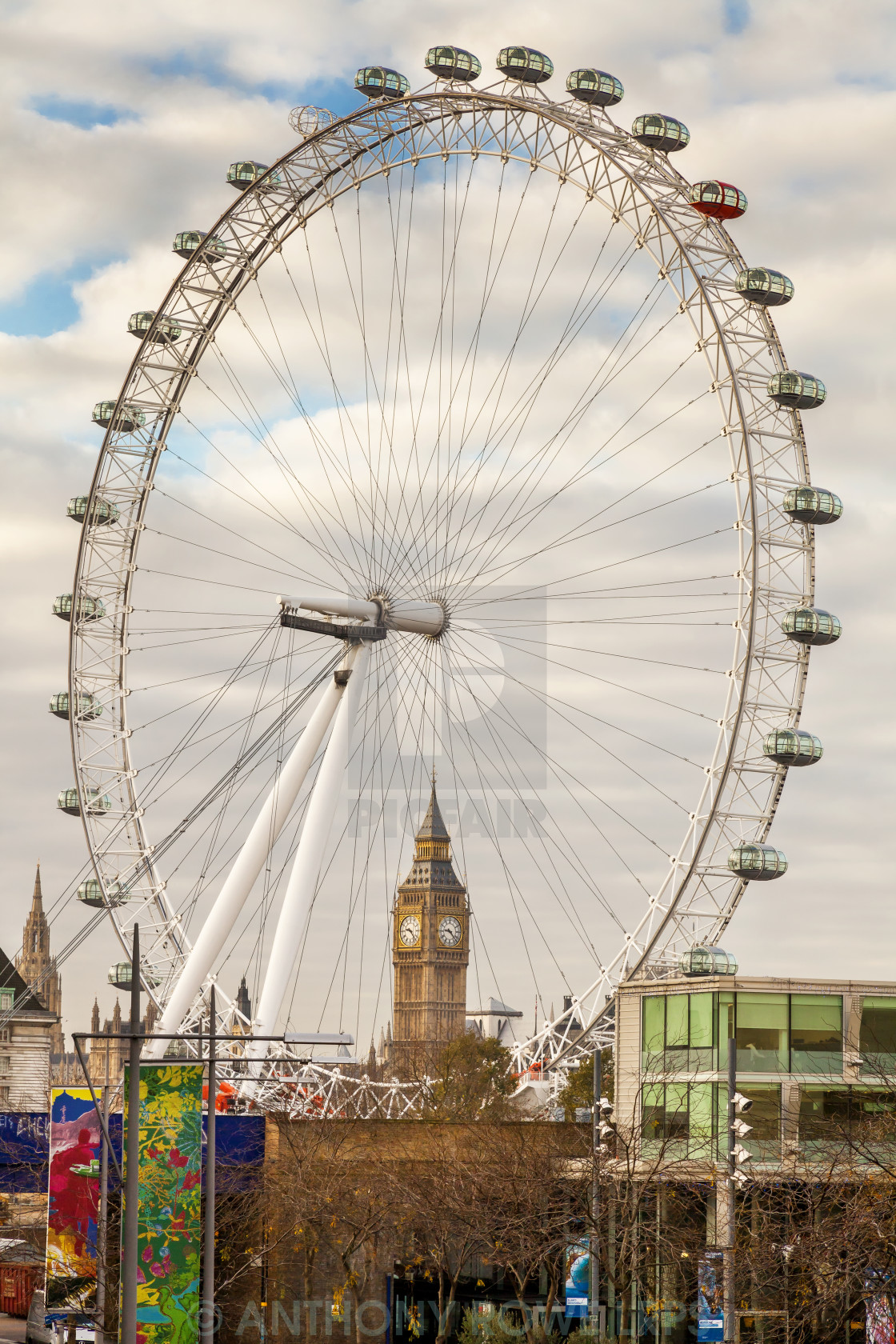 """The London eye and Big Ben"" stock image"