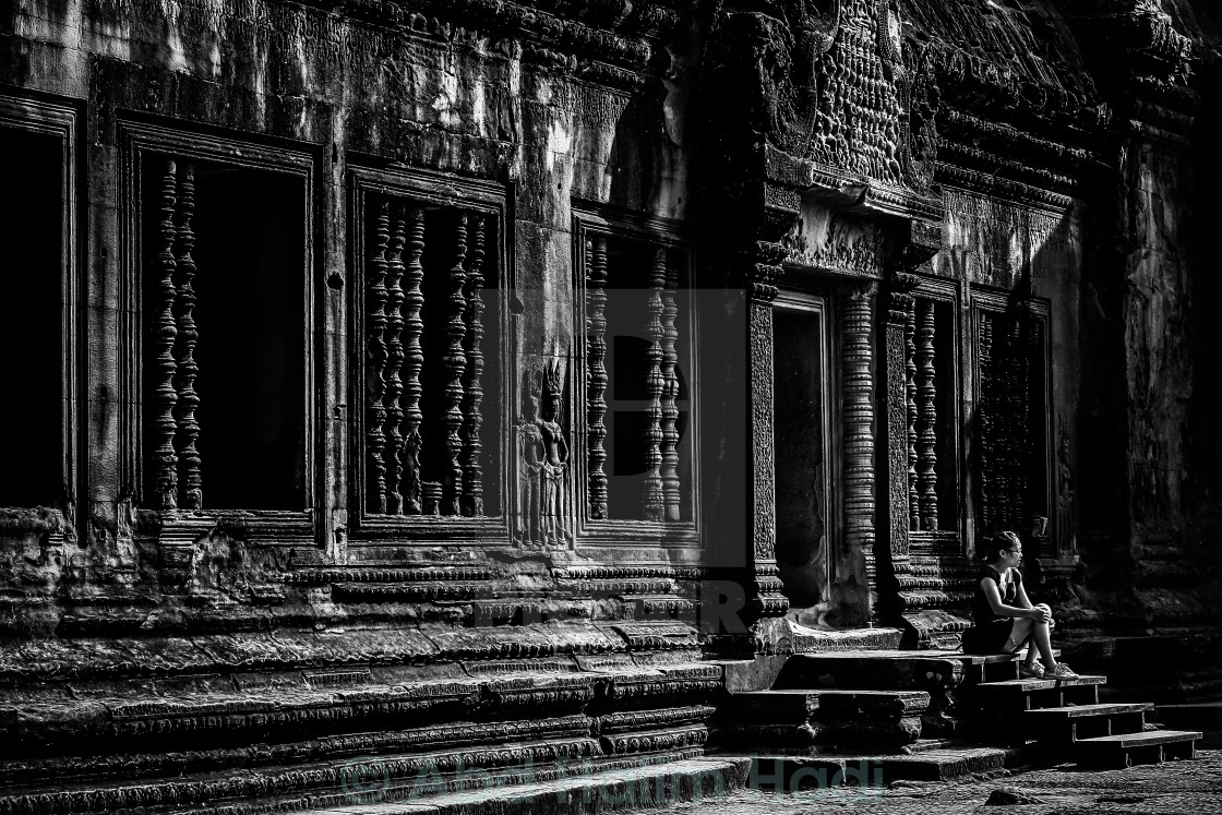 """Angkor in Black and White"" stock image"