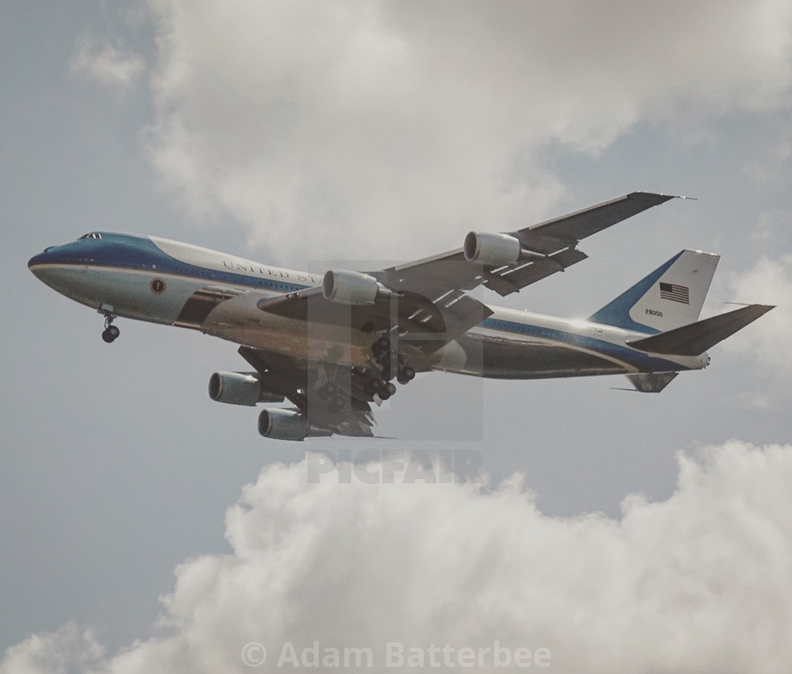 """Air Force One over Essex"" stock image"