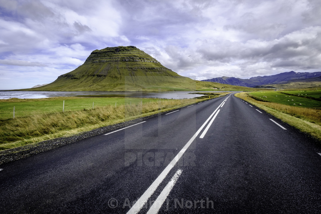 """Road to Kirkjufell"" stock image"