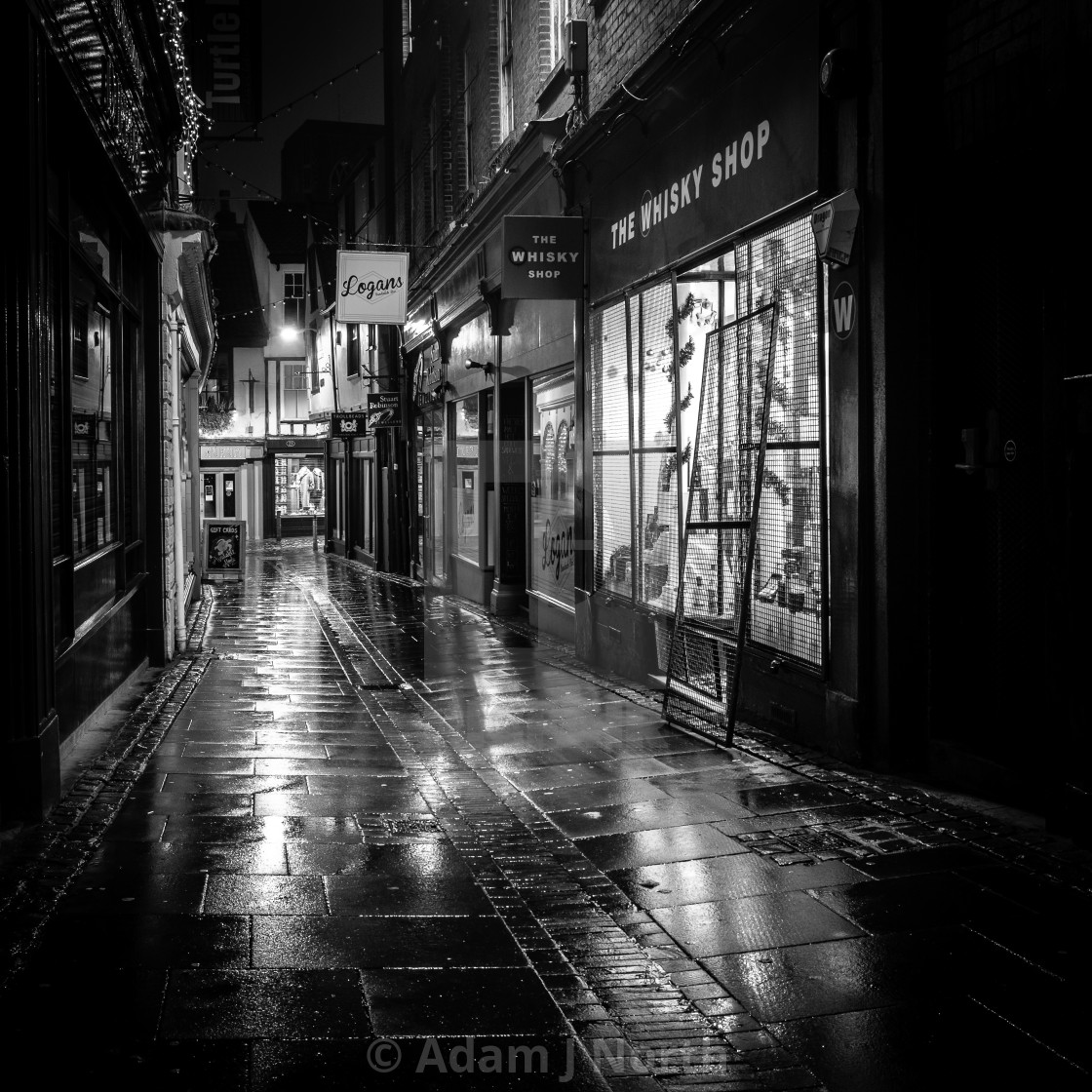 """Norwich at night - Back street"" stock image"