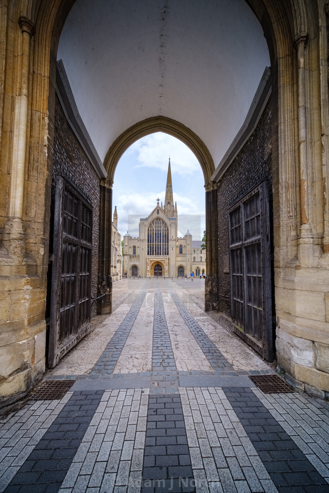 """Norwich Cathedral gates"" stock image"