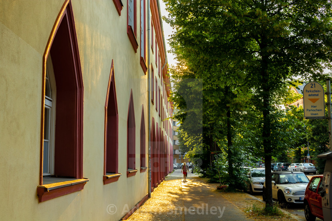 """Evening glow on a Berlin backstreet"" stock image"