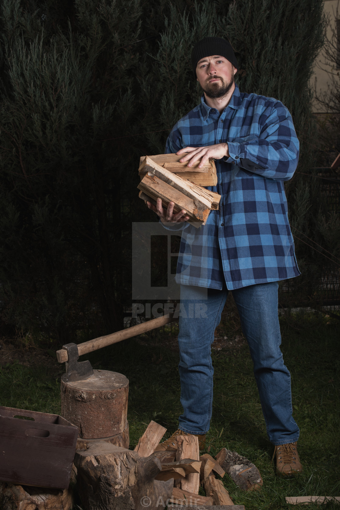 """lumberjack holding firewood in his hands"" stock image"