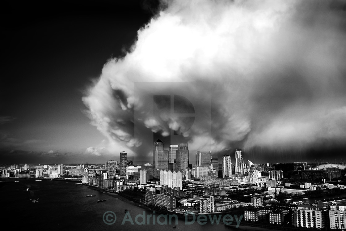 """Storm over Docklands"" stock image"