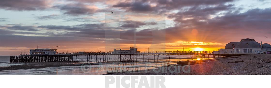 """""""Worthing pier panorama at sunset"""" stock image"""