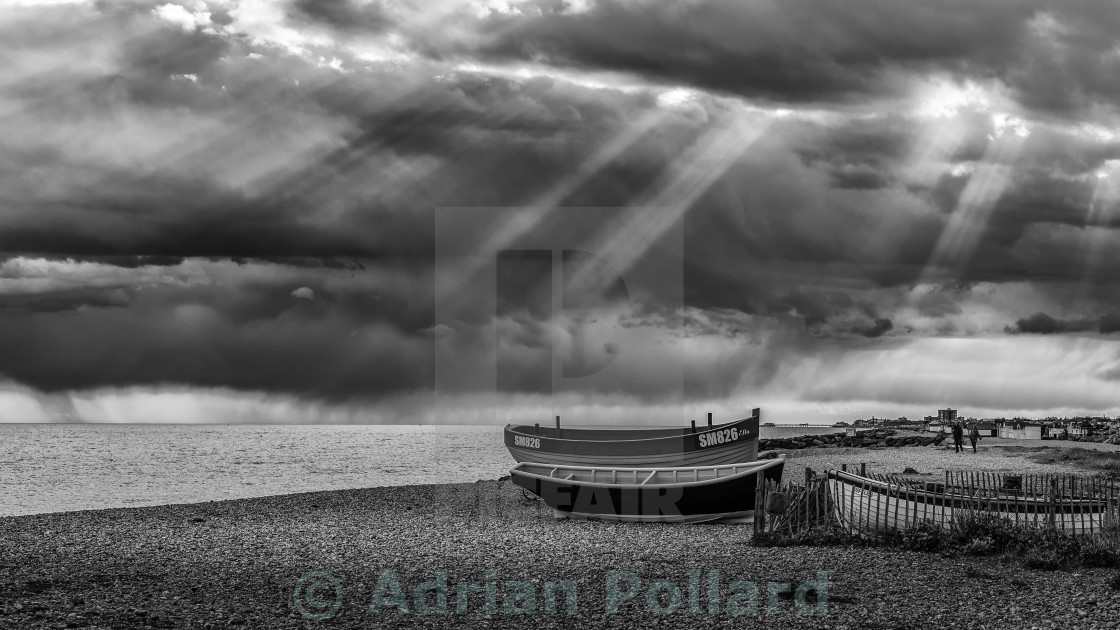 """Crepuscular rays off Sussex coast"" stock image"