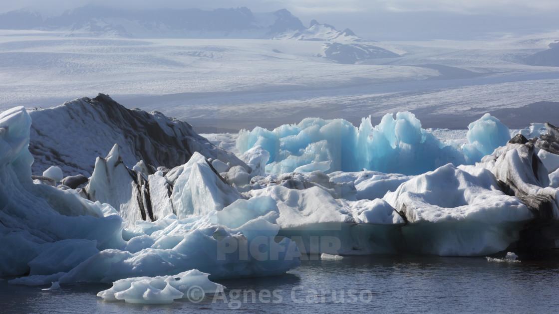 Blue ice in Jokulsarlon Glacier Lagoon