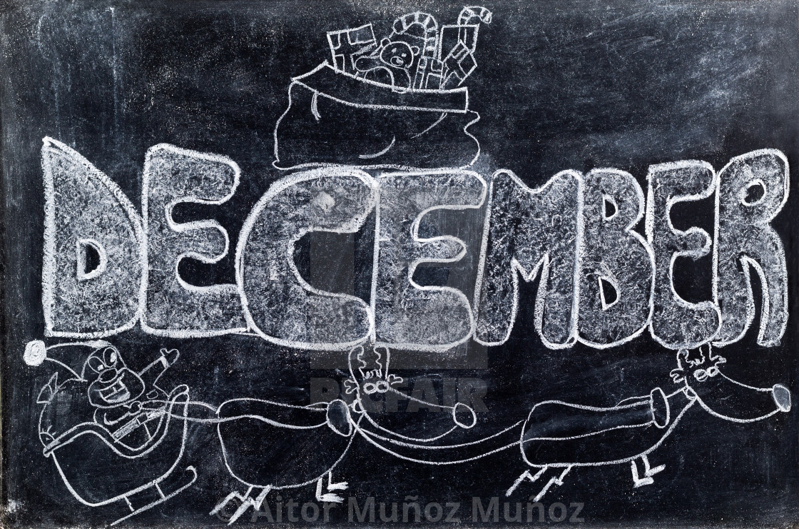 """December handwritten on Blackboard"" stock image"
