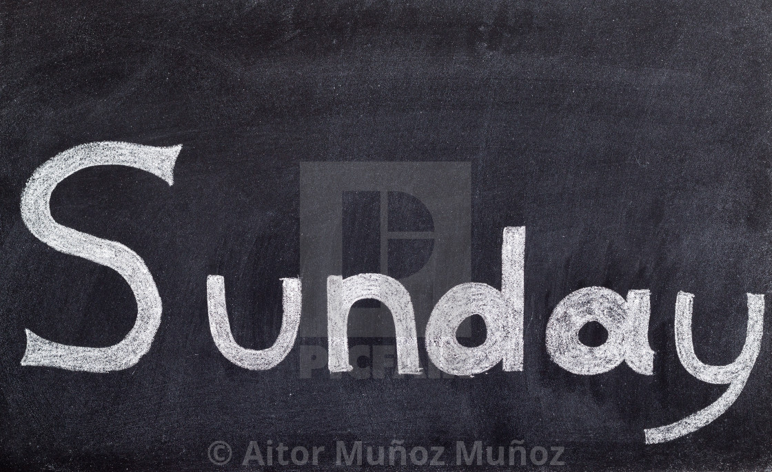 """Sunday handwritten on blackboard"" stock image"