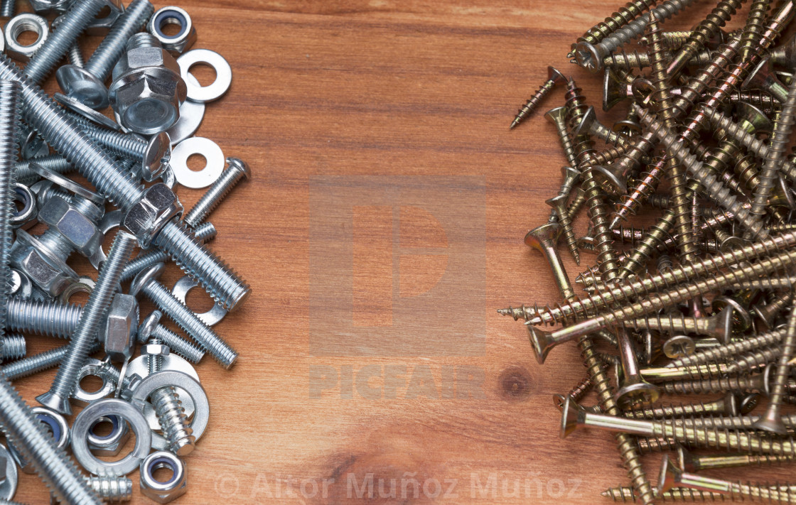 """""""Pile of bolts and screws"""" stock image"""