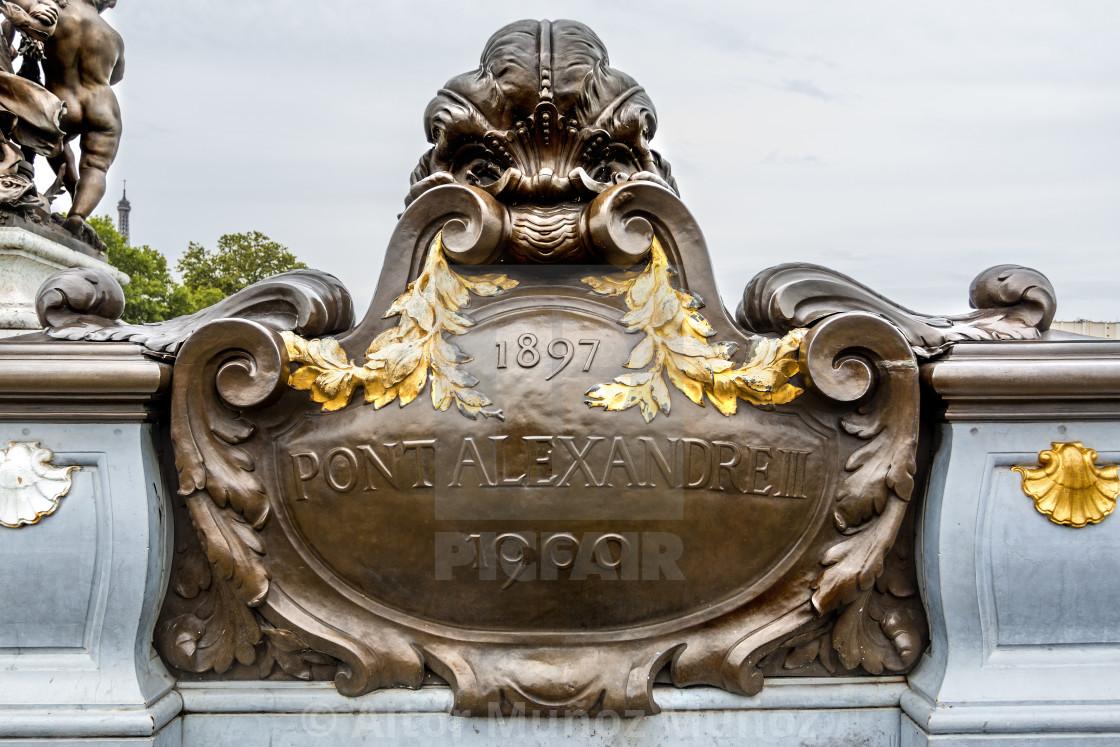 """""""Metallic plate in Pont Alexandre III in Paris"""" stock image"""