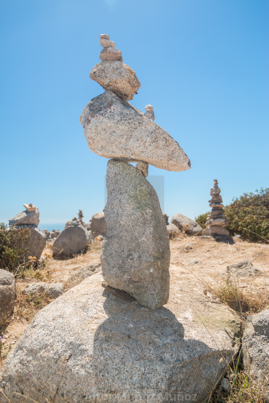 """Pile of stones at the Monte Foia in Monchique, Portugal"" stock image"