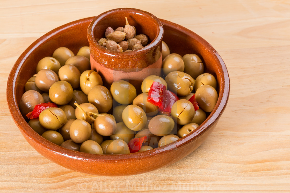 """Marinated green olives"" stock image"