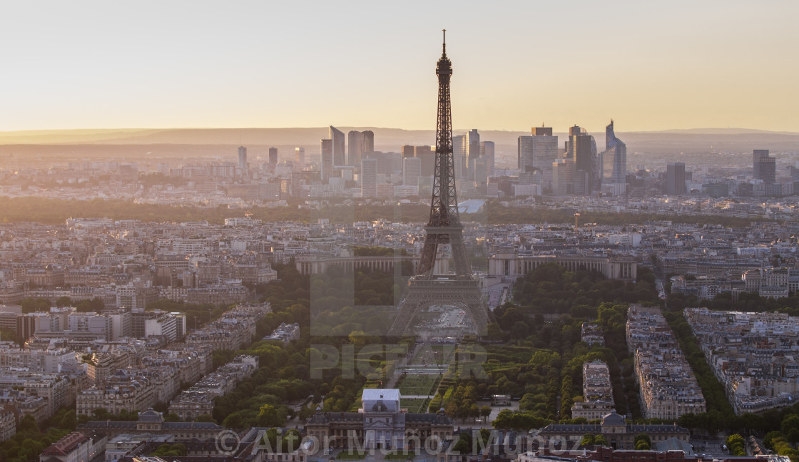 """Eiffel tower in paris at sunset"" stock image"