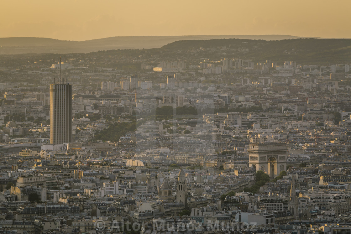 """Cityscape from above at golden hour"" stock image"