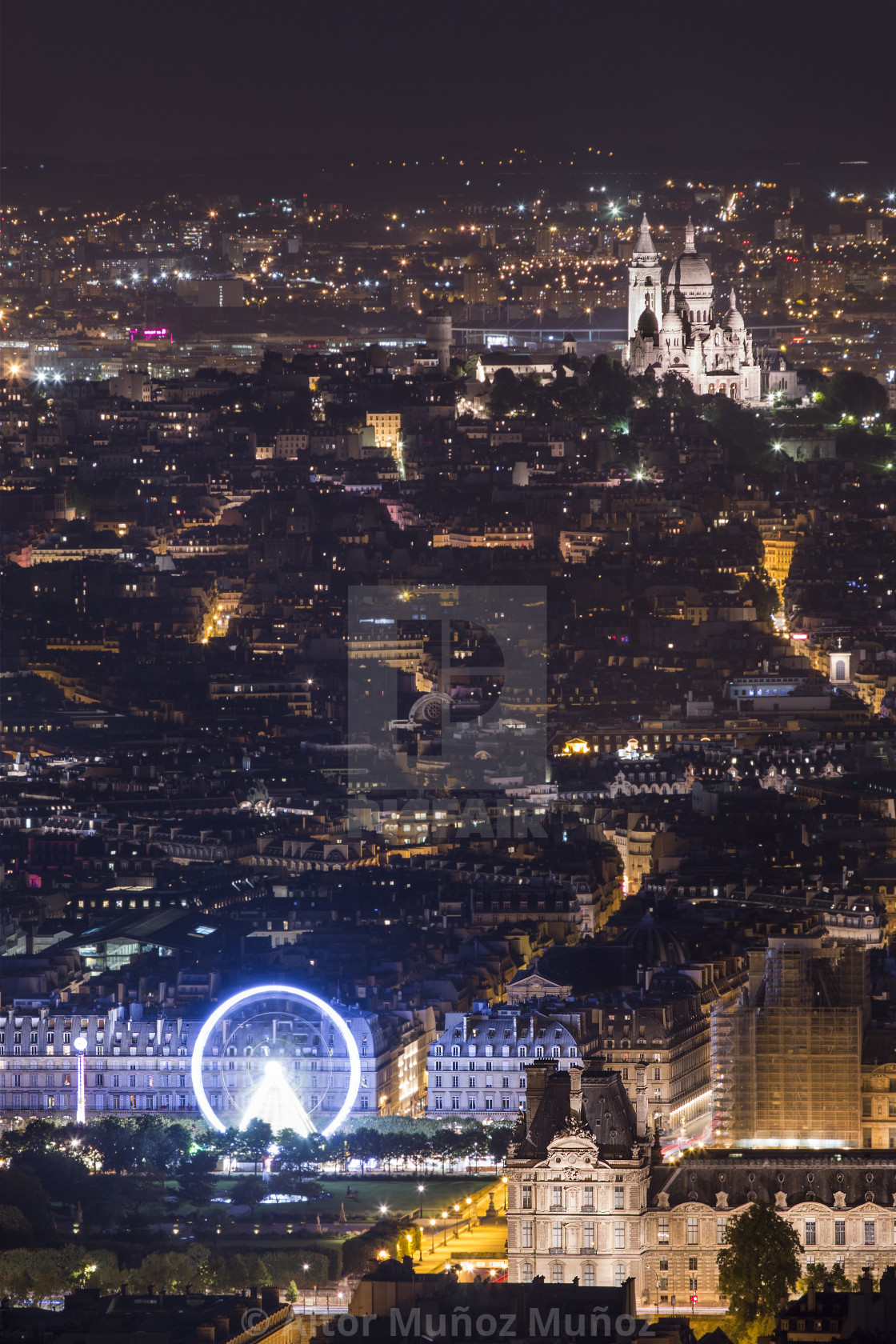 """Glowing Paris city in nigh time"" stock image"