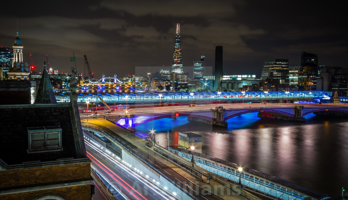 """The City of London at Night"" stock image"