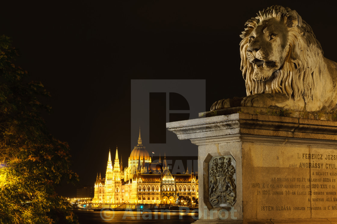 """""""View of Hungarian parliament at night"""" stock image"""