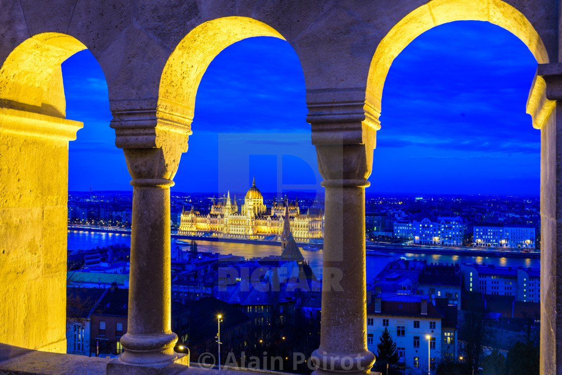 """The Hungarian parliament in Budapest at night"" stock image"