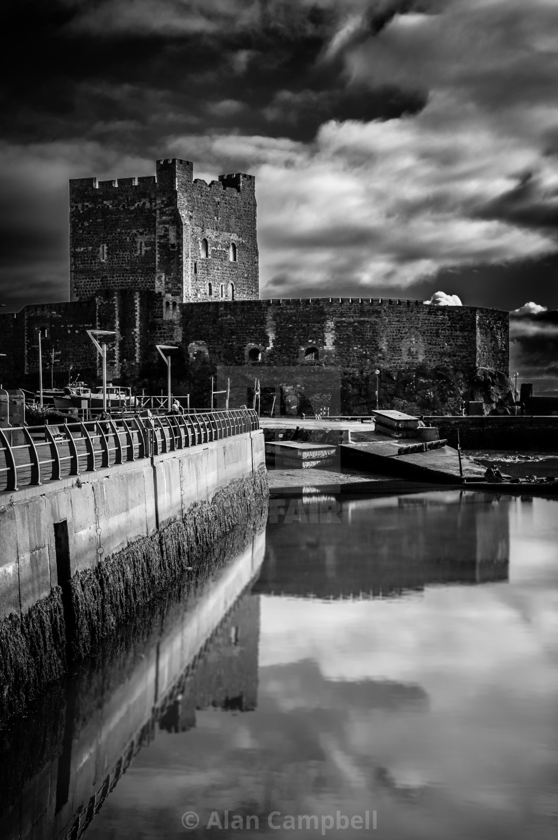 """Reflections at Carrickfergus Castle"" stock image"