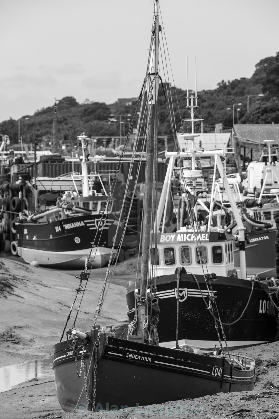 """Boats in estuary"" stock image"