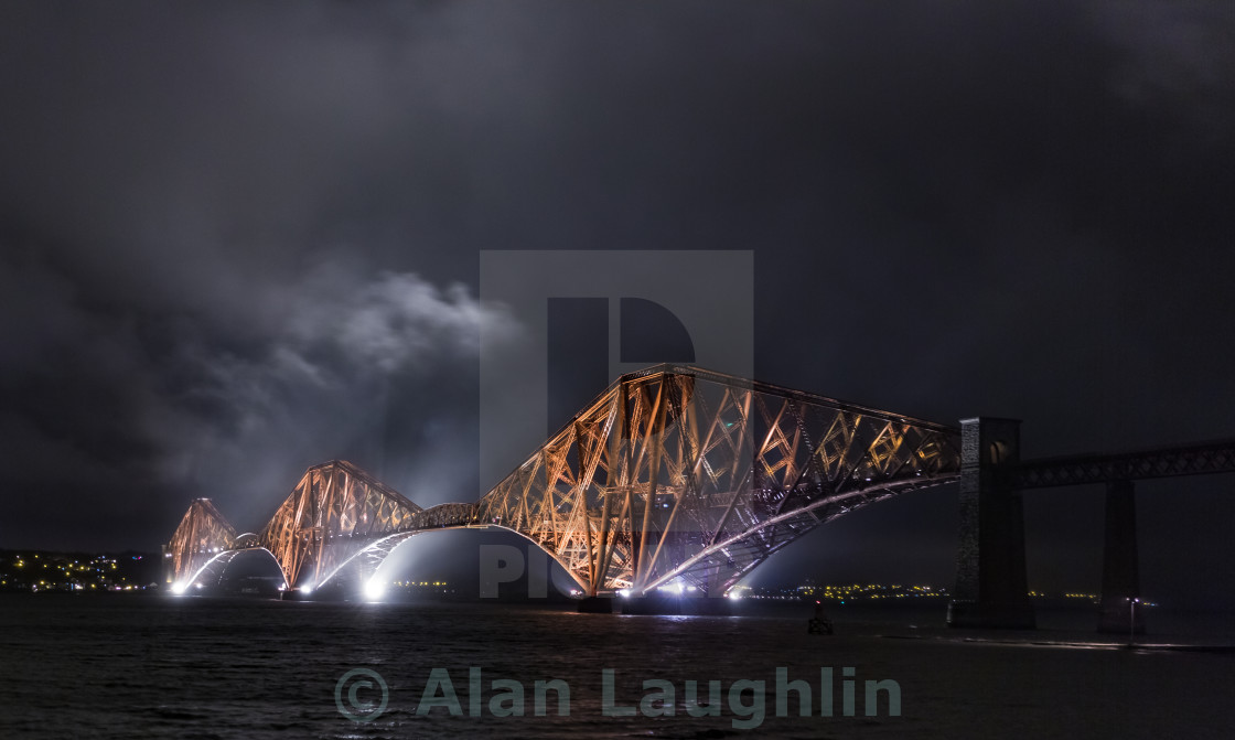 """Night Forth Rail Bridge"" stock image"