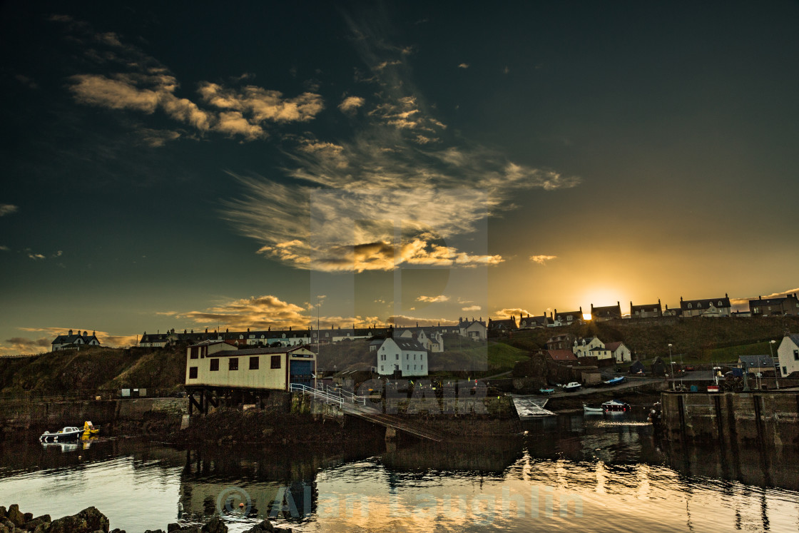 """""""St Abbs Harbour sunset"""" stock image"""
