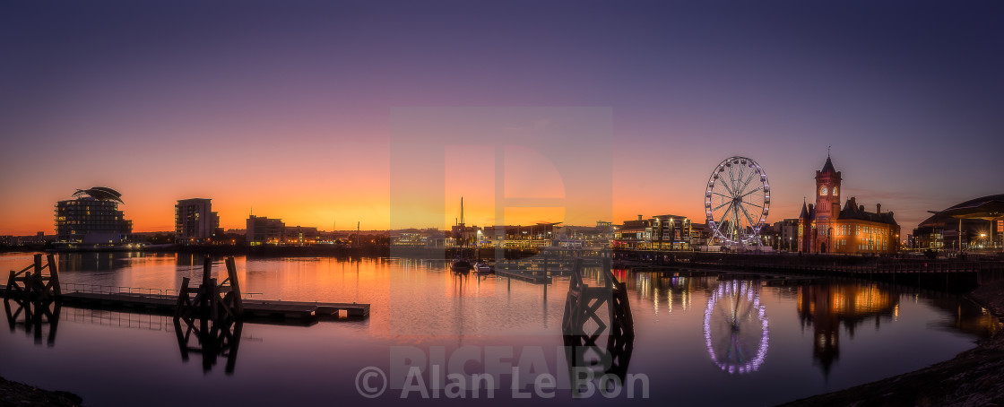 """Cardiff Bay Sunset Panorama"" stock image"