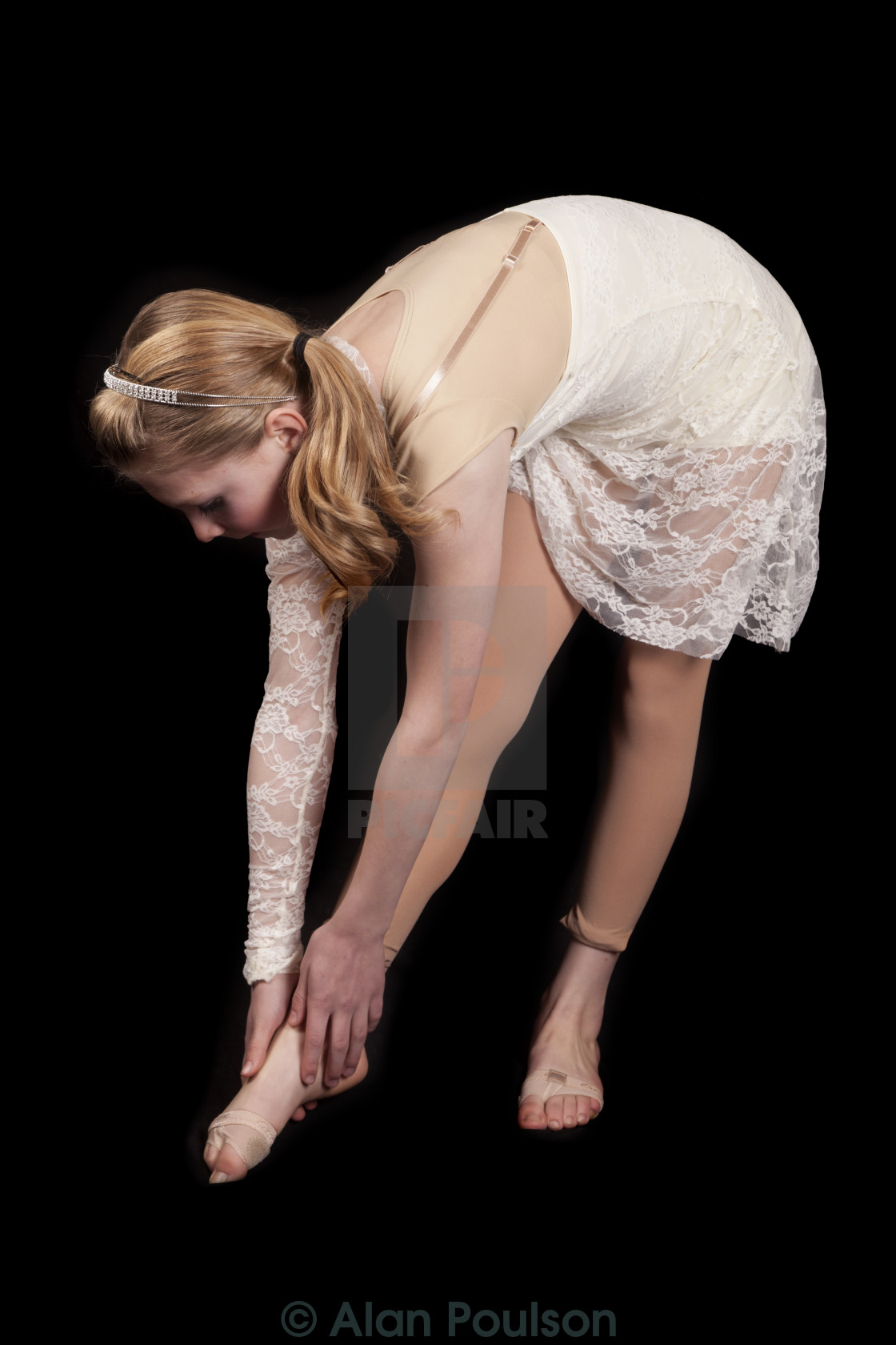 93ddebced4cf young girl dance bend down touch foot - License, download or print ...