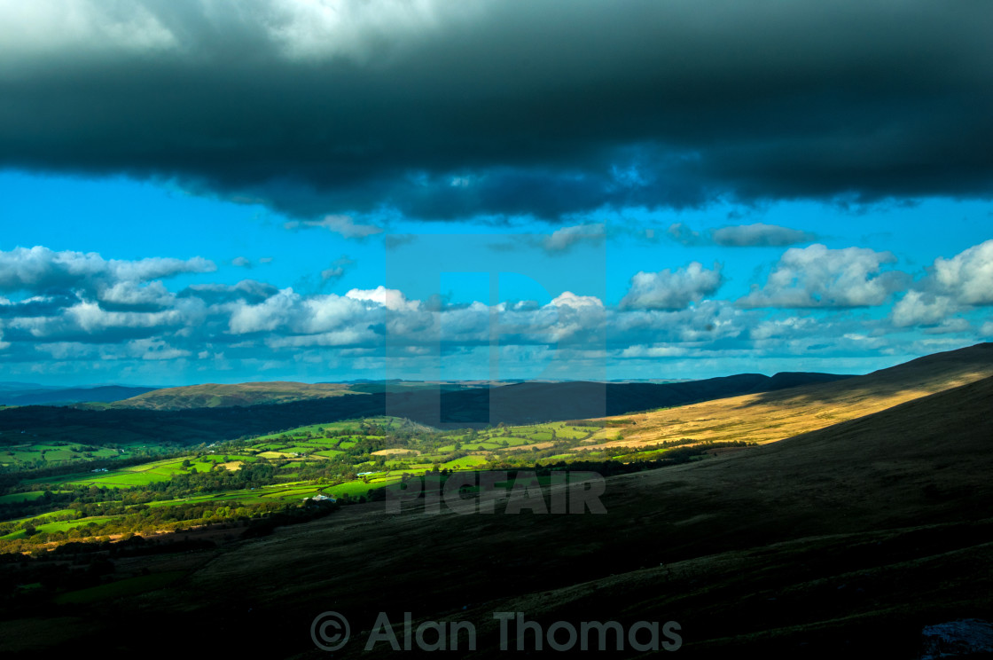 """Calm after a storm looking over the Black Mountain, South Wales"" stock image"