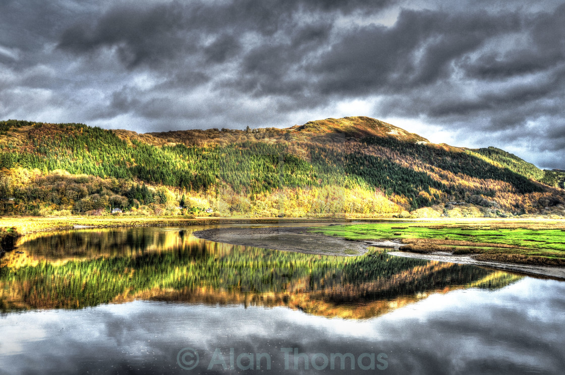 """""""The Mawddach river estuary in North Wales"""" stock image"""