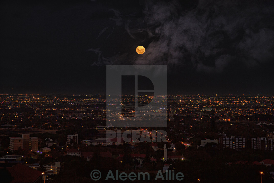 """City Under Moonlight"" stock image"