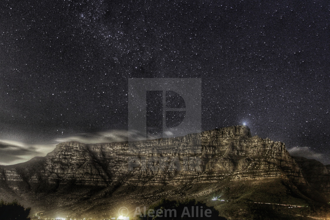 """""""Table Mountain at Night"""" stock image"""