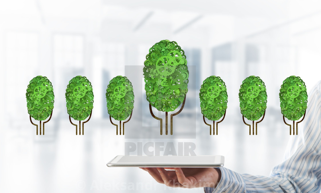 Eco Green Environment Concept Presented By Tree As Working