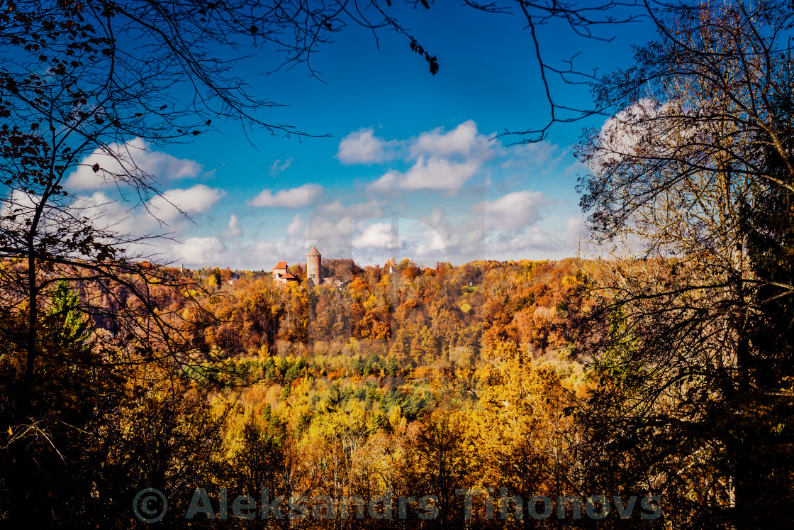 """Turaida Castle over picturesque autumn landscape. Sigulda, Latvia"" stock image"
