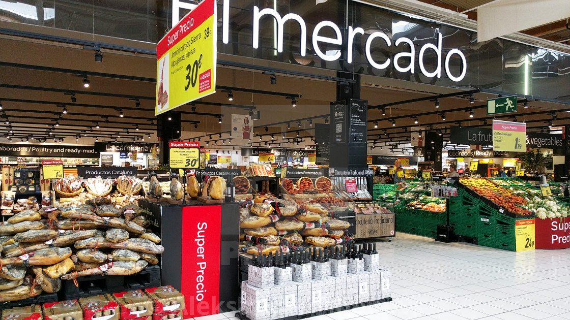 Variety Of Meat Products In A Carrefour Supermarket Spain License