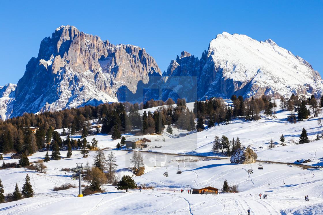 """""""Alpe di Siusi Sasso Lungo Sasso Piatto"""" stock image"""