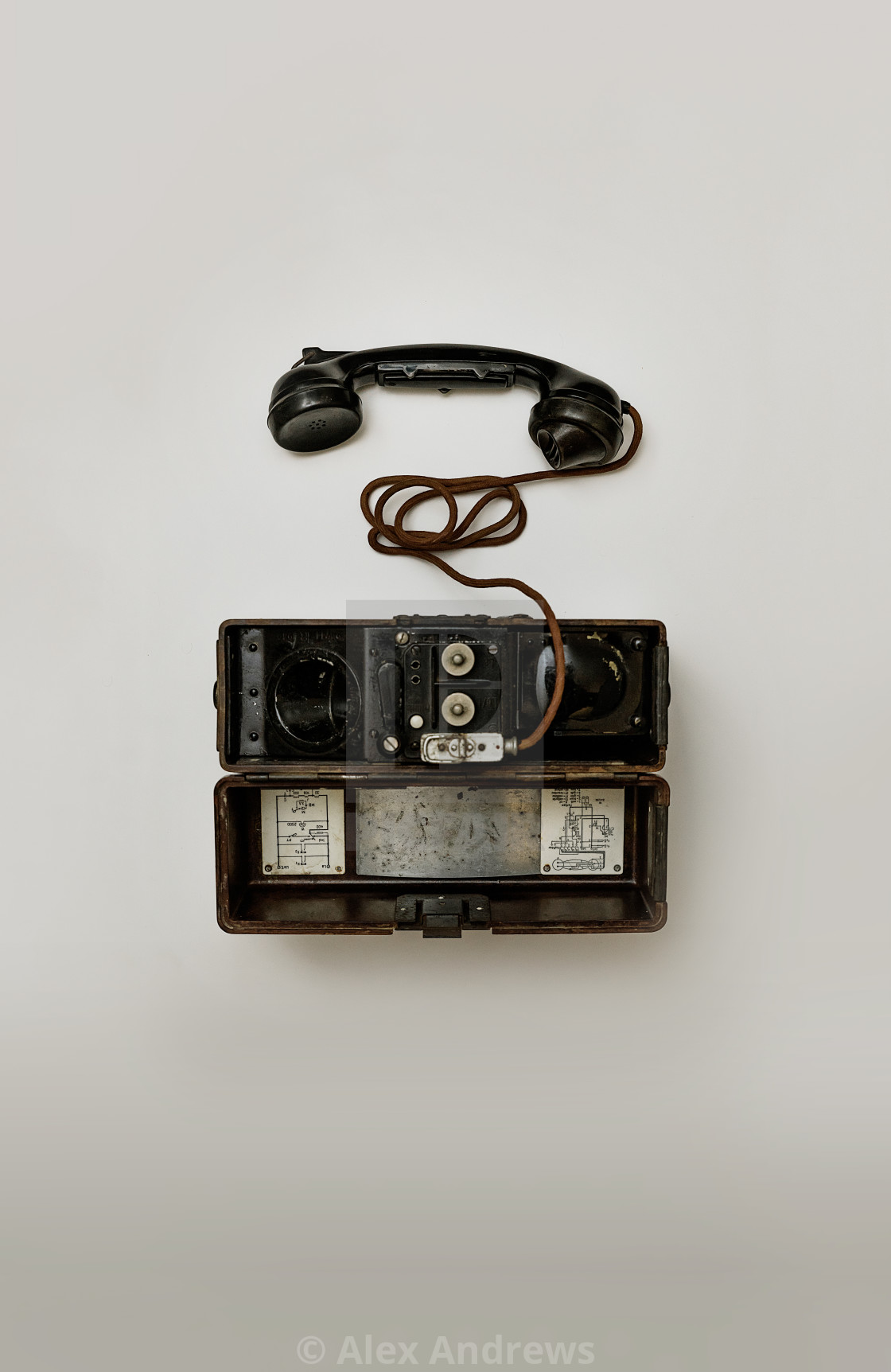 """Vintage field telephone"" stock image"